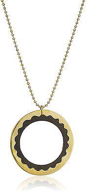 "Lena Bernard 36"" Long Rosewood & Brass Hamma Pendant Ball Chain Necklace NWT"