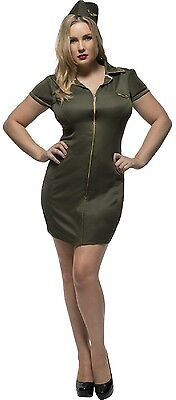 Ladies Curvy Army Girl Role Play Fancy Dress Costume Outfit Plus Size UK 16-30 (Army Girl Kostüm Plus Size)