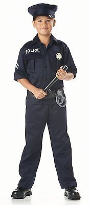 CHILDRENS POLICE OFFICER UNIFORM COP DETECTIVE HALLOWEEN COSTUME XS-L 00343