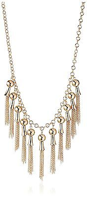"""Jules Smith 17.5"""" + 2.25"""" Gold Plated Fringe Drop Necklace NWT"""