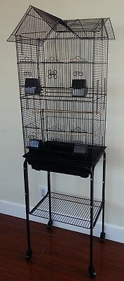 "63"" New Tall Cockatiel Parakeet Finch Canary Bird Cage With Black Stand 197"