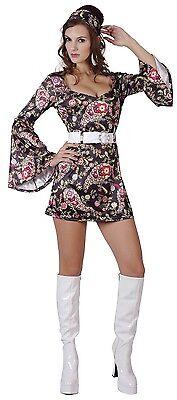 Damen Sexy Disco Kleid 1970s 70er Jahre Hen Kostüm Kleid Outfit 10-12-14 (Disco Outfit Damen)