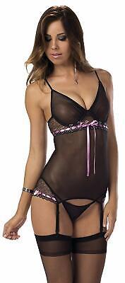 Escante - Women's Satin Ribbon Bustier W/Hose - Sexy, Flirty - NWT - Teddie