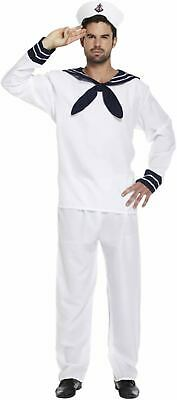 Sailor Fancy Dress Dressing Up Outfit White Navy Costume Male Adult BRAND NEW - Sailors Dressing Up Outfits