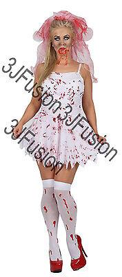 Ea Halloween (Adult Ladies Zombie Bloody Bride + Veil Halloween Fancy Dress Costume Womens EA)