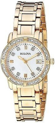 Bulova Women's Quartz Diamond Accents Gold-Tone Bracelet 26mm Wrist Watch 98R135