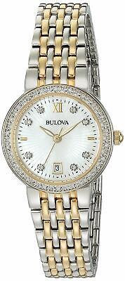 Bulova Women's Diamond Collection Gold Tone Accents Quartz 26mm Watch 98R211