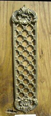 Antique Ornate Solid Brass Open Lattice Finger Plate - Door Fittings