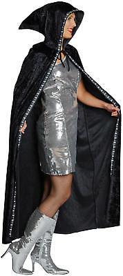 Kostüme Cape Schwarz (Umhang Cape Totenkopf schwarz Karneval Halloween Kostüm)