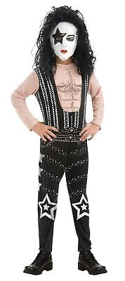 Boy Band Halloween Costumes (Starchild Boy's Kiss Band Rock Star Jumpsuit Halloween Costume w/Defect, S, M,)