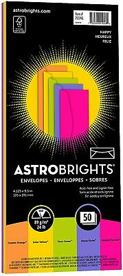 10 Envelopes Bright Color Envelope 5 Colors Letter Size Gummed Closure 50-pack