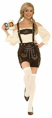 Lederhosen Female Oktoberfest Brown Fancy Dress Halloween Deluxe Adult Costume