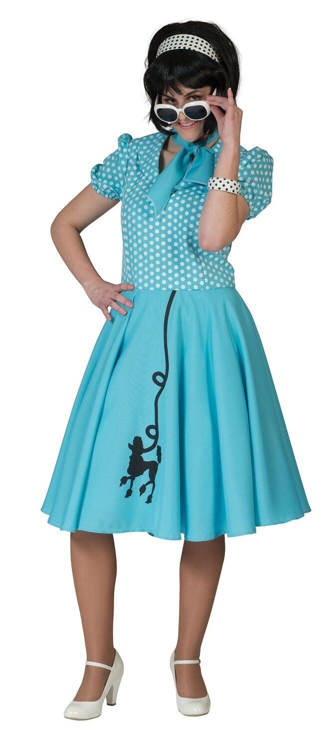 Ladies 1950s 50s Poodle Polka Dot Dress Scarf Hen Do Fancy Dress Costume Outfit