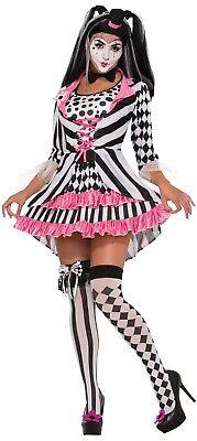 Damen 4 Stück Sexy Harlekin Clown Halloween Zirkus Kostüm Kleid Outfit