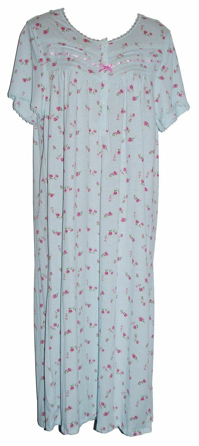 Floral Print. Womens Short Sleeved Jersey Nightdress in 2 Lengths