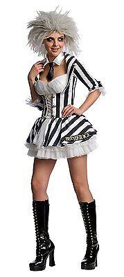 SEXY BEETLEJUICE ADULT WOMENS DELUXE FANCY DRESS HALLOWEEN GOTH COSTUME, - Beetlejuice Deluxe Adult Kostüm