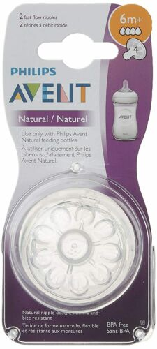 Philips Avent Natural Baby Bottle Nipple, Fast Flow Nipple, 6M+, 2pk.