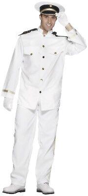 Mens Sexy White Navy Captain Uniform Carnival Film Fancy Dress Costume Outfit ](White Navy Uniform Costume)
