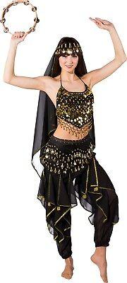 Damen Deluxe Schwarz Arabisch Jasmin Bauchtänzerin Kostüm Kleid Outfit