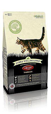 James Wellbeloved Turkey and Rice Dry Adult Cat Food - 1.5 kg