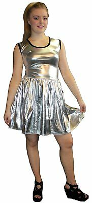 METALLIC SHINY PVC SILVER GREASE WETLOOK ROCKABILLY SWING SLEEVELESS DRESS RAVE](Grease Party Clothes)