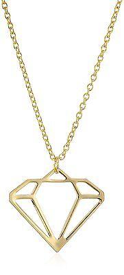"New USA Made ECRU Metal Gold Tone Diamond Cutout 16"" Necklace"