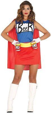 Damen Beer Super Hero Cartoon-Tv Halloween Hen Kostüm Kleid Outfit