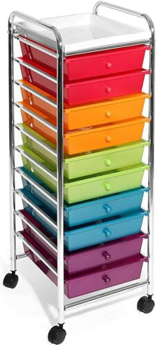 Seville Classics 10-Drawer Rolling Art Office Storage Organizer Cart Multicolor