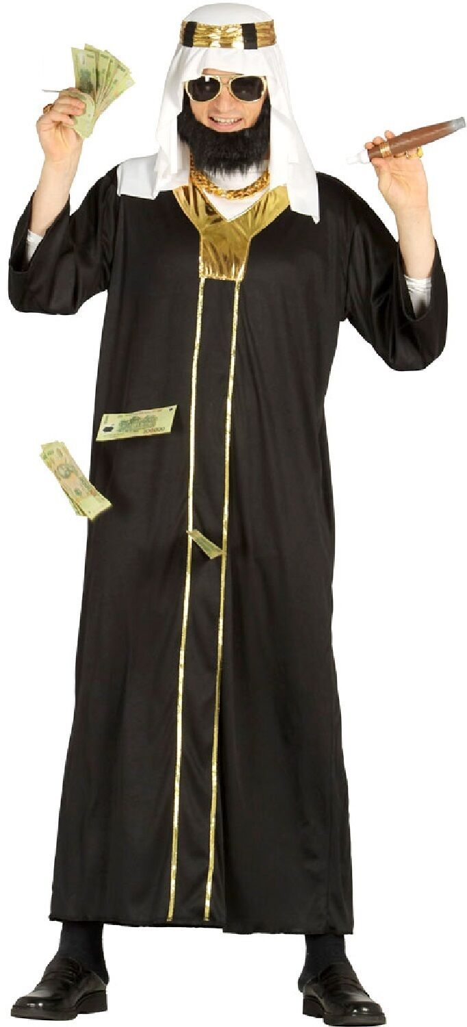 mens black & gold rich arab stag night fancy dress costume outfit