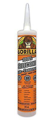 Gorilla Glue 8050002 100 Percent Silicone Sealant Caulk 10 Oz Clear