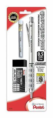 Pentel Graphgear 1000 Mechanical Pencil 0.5mm Chrome Grey New