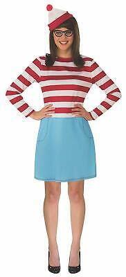 Wenda Where's Waldo Wally Book Striped Fancy Dress Up Halloween Adult Costume