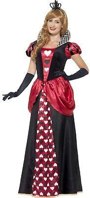 Damen Längere Länge Königsblau Rote Königin Kostüm Kleid Outfit 8-26 - Rote Königin Übergröße Kostüm