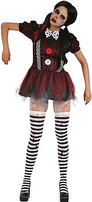Ladies Dead Doll Creepy Clown Halloween Horror Scary Fancy Dress Costume Outfit - Halloween Costumes Dead Clowns