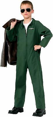 Air Force Jumpsuit Military Pilot Green Fancy Dress Up Halloween Child Costume - Air Force Halloween Costume