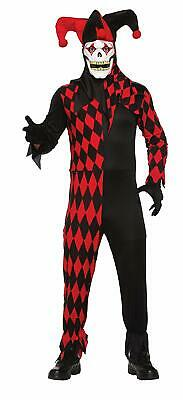 Evil Jester Clown Circus Carnival Dark Fancy Dress Up Halloween Adult Costume - Dark Jester Costume