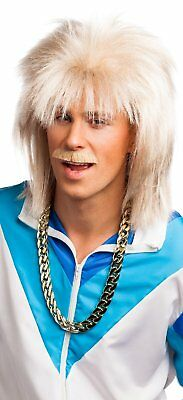 Herren Blond Mullet 80er Jahre 1980er Eighties Kostüm Perücke Outfit Accessoire