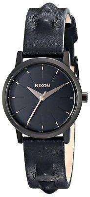 Nixon Women's A398-1669-00 Kenzi Leather 26mm All Black Studded A3981669