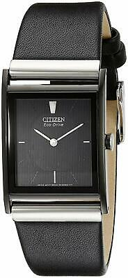 Citizen Men's Eco-Drive Black Dial Black Leather Strap 37mm Watch BL6005-01E