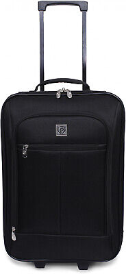 Carry On Luggage Suitcase 18 Cabin Bag Small Lightweight Rolling Baggage Black - Lightweight Carry Luggage