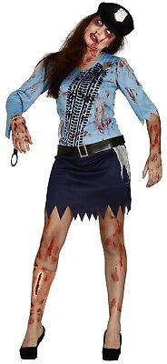 Damen Polizei Outfit (Damen Zombie Blutiges Polizei Damen Offizier Halloween Kostüm Kleid Outfit)