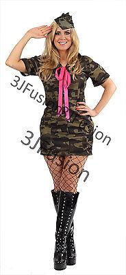 Ladies Sexy Army Fancy Dress Costume Soldier Camo Womens GI Jane FREE POST - Gi Jane Kostüm