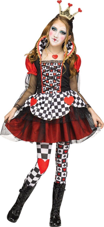 newest collection b18d9 53bda Dettagli su Ragazze Teenager Rosso Cuori Regina Libro Abito Costume  Halloween 7-14 Anni
