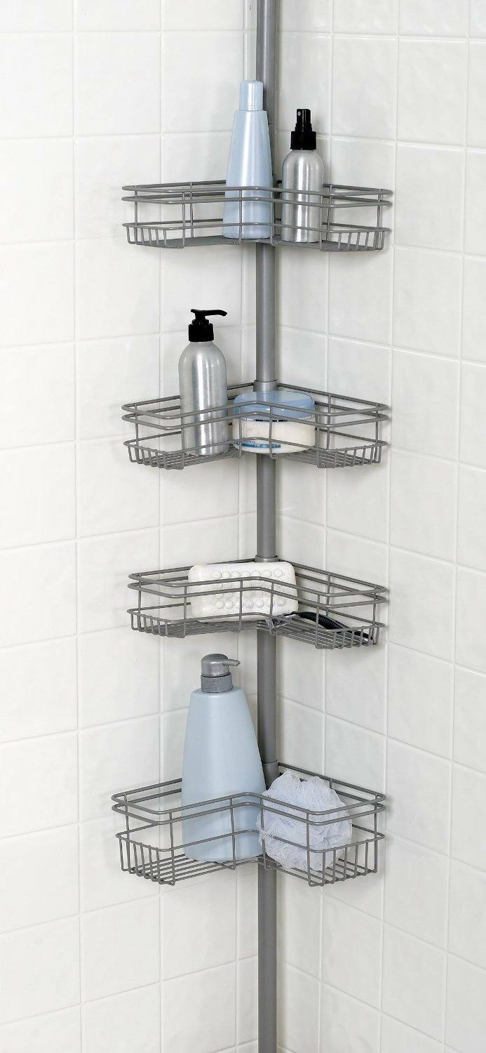Bathtub Shower Corner 4 Basket Wall Storage Space Caddy Pole Ceiling To Tub