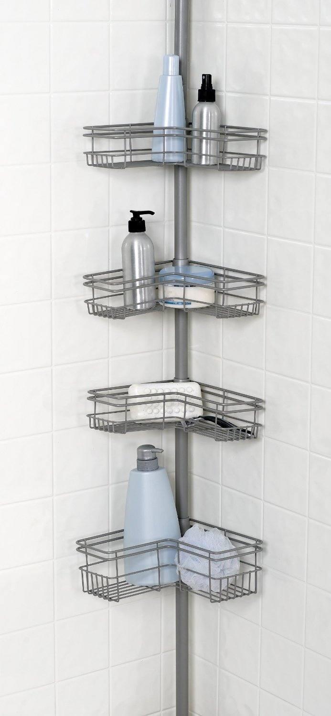Bathtub Shower Corner 4 Basket Wall Storage Space Caddy Pole Ceiling To Tub