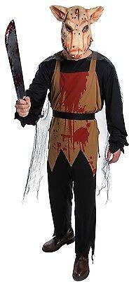 Metzger Halloween-kostüm (Herren 4 Stück Metzger Schwein + Maske Tier Halloween Kostüm Kleid Outfit)
