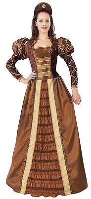 Damen Bronze Lang Voll Länge Mittelalterliche Königin Kostüm - Mittelalterliche Outfit