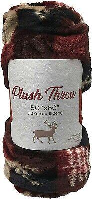 Plush Fleece Throw Blanket 50 x 60 Inches Christmas Holiday Plaid Winter Deer