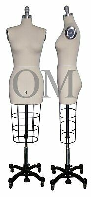 Professional Female Mannequin Dress Form, W/ Heavy Rolling Base, Size 4 (ncs 4)
