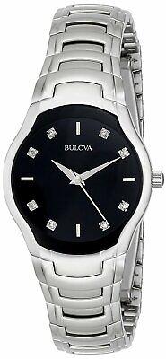 Bulova Women's Quartz Diamond Accents Silver Tone Black Dial 28mm Watch 96P146